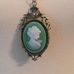 """Jewelry - Vtg 3"""" Hand Carved Cameo Embellished Brass,3AA CZs"""